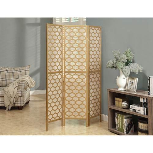 Folding Screen - 3 Panel / Gold Frame  Lantern Design