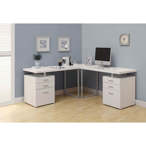 Computer Desk - White L Shaped Corner Desk