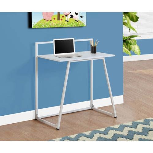 Computer Desk - 30L / Juvenile White / White Metal