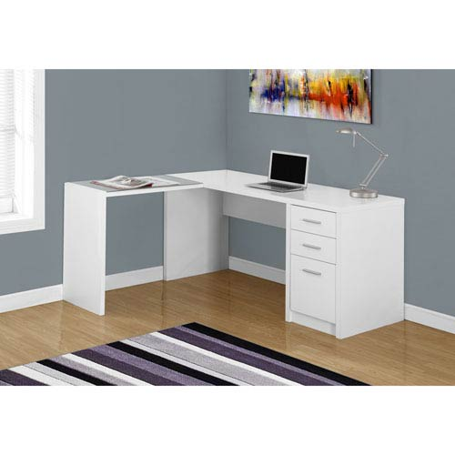 Hawthorne Ave Computer Desk - White Corner with Tempered Glass