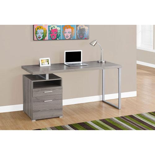 Dark Taupe 60-Inch Computer Desk