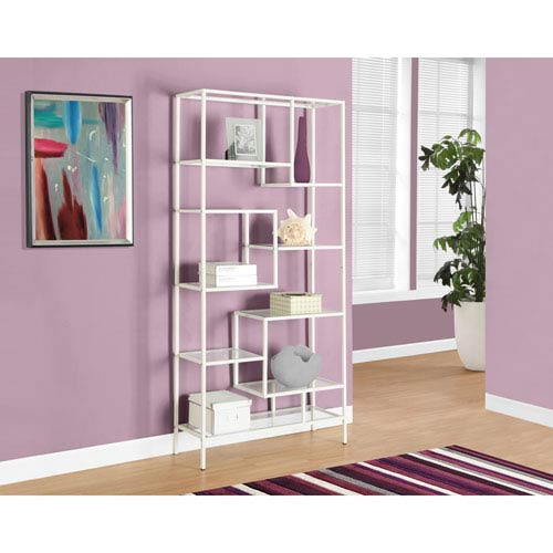 Bookcase - 72H / White Metal with Tempered Glass
