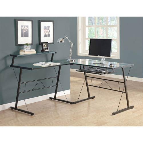 Hawthorne Ave Computer Desk Black Metal Corner With Tempered Glass