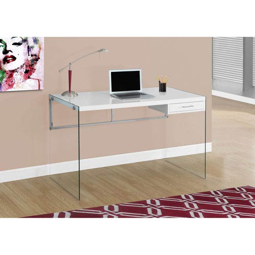Computer Desk - 48L / Glossy White / Tempered Glass