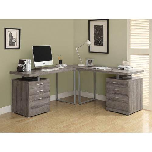 Computer Desk - Dark Taupe Reclaimed Look L Shaped Corner Desk
