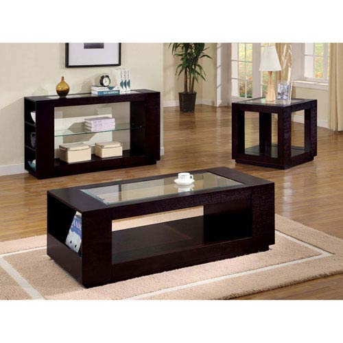 Hawthorne Ave Coffee Table   Cappuccino Veneer With Glass Insert
