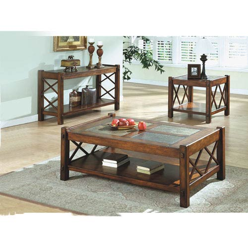 Hawthorne Ave Console Table   Dark Brown With Slate Top