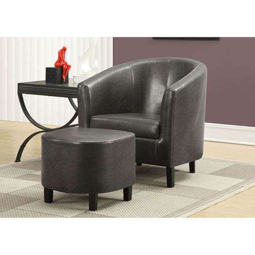Hawthorne Ave Charcoal Accent Chair with Ottoman