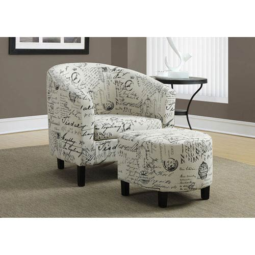 White Accent Chairs Used.Hawthorne Ave White Accent Chair With Ottoman