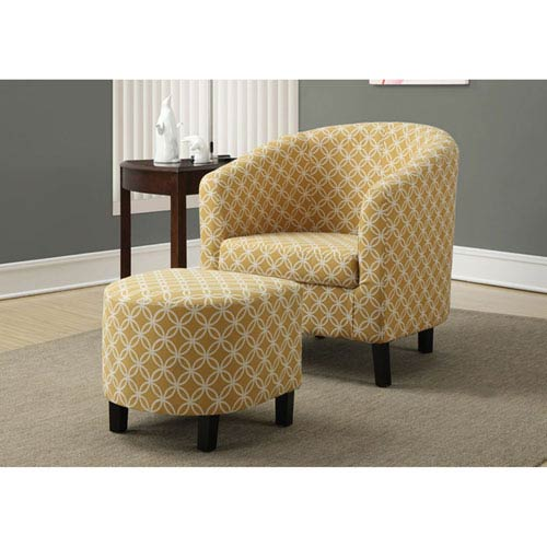 Burnt Yellow Accent Chair with Ottoman