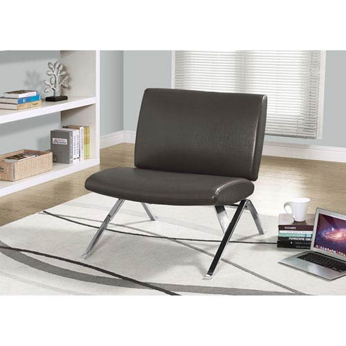 Taupe Bonded Leather Chair and Storage Ottoman