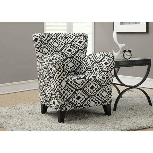 Black Accent Chair with Ottoman