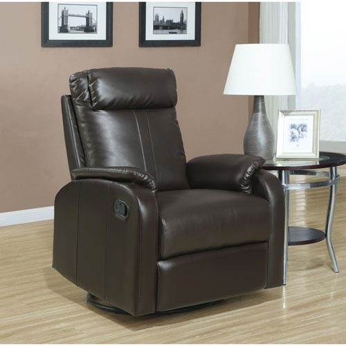 Recliner - Swivel Rocker / Dark Brown Bonded Leather