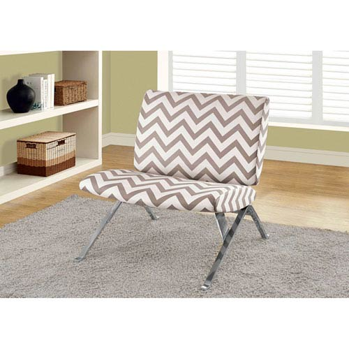Dark Taupe Accent Chair with Ottoman
