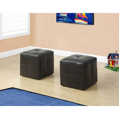 Ottoman - 2 Piece Set / Juvenile / Dark Brown Leather-Look