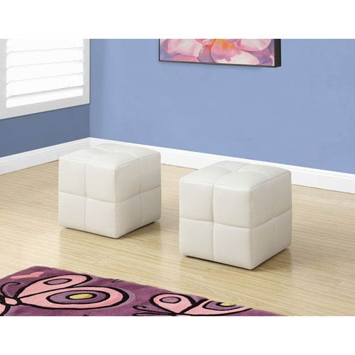 Hawthorne Ave Ottoman - 2 Piece Set / Juvenile / White Leather-Look