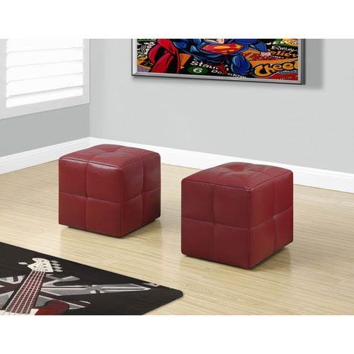Ottoman - 2 Piece Set / Juvenile / Red Leather-Look