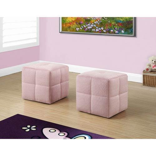 Ottoman - 2 Piece Set / Juvenile / Fuzzy Pink Fabric