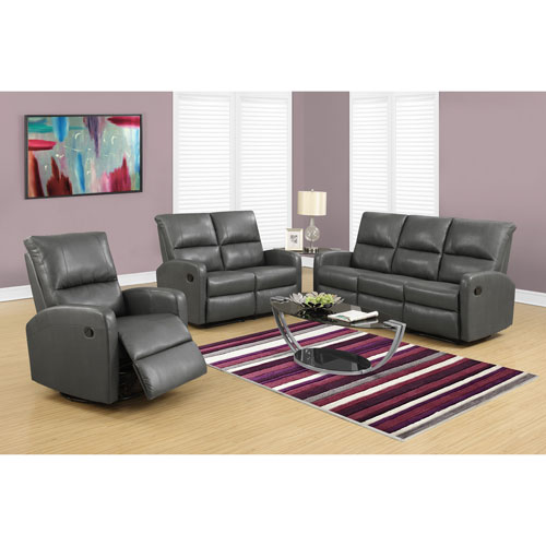 Hawthorne Ave Reclining-Loveseat Charcoal Grey Bonded Leather
