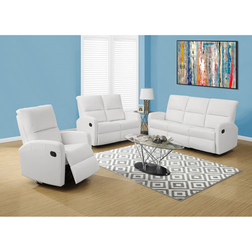 Reclining-Loveseat White Bonded Leather