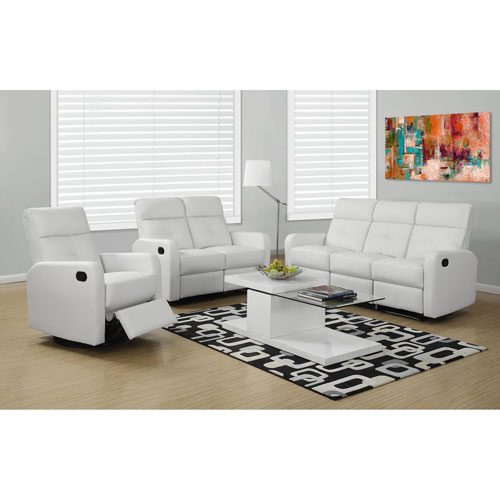 Reclining - Love Seat White Bonded Leather