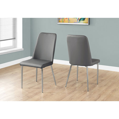 Hawthorne Ave Grey Leather-Look Dining Chair with Chrome Set of 2