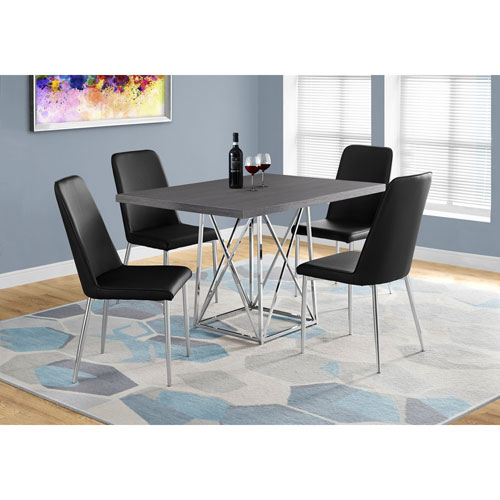 Hawthorne Ave Grey Dining Table with Chrome Metal