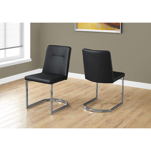 Hawthorne Ave Black Leather-Look Dining Chair with Chrome Set of 2