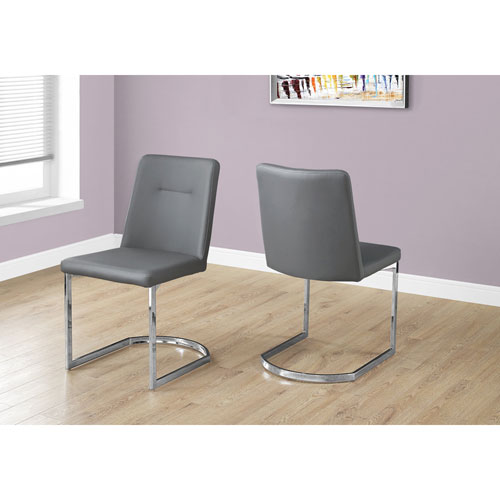 Grey Leather-Look Dining Chair with Chrome Set of 2