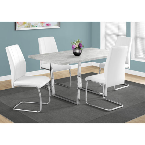 Grey Cement Dining Table with Chrome Metal