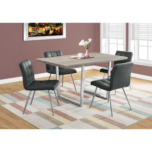 Hawthorne Ave Dark Taupe Dining Table With Chrome Metal