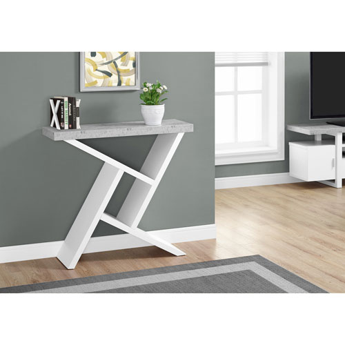 White Cement-Look Hall Console