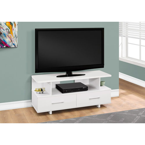 Hawthorne Ave 48 Inch White TV Stand With 2 Storage Drawers