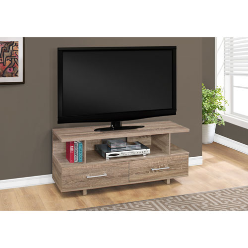 48-Inch Dark Taupe TV Stand with 2 Storage Drawers