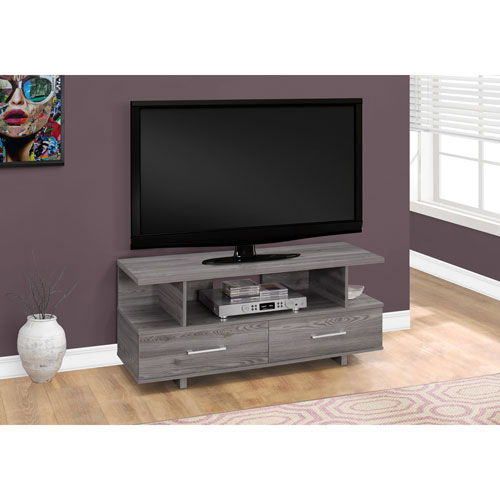 48-Inch Grey TV Stand with 2 Storage Drawers