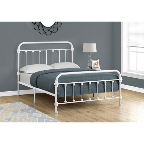 Full Bed White Metal Frame Only