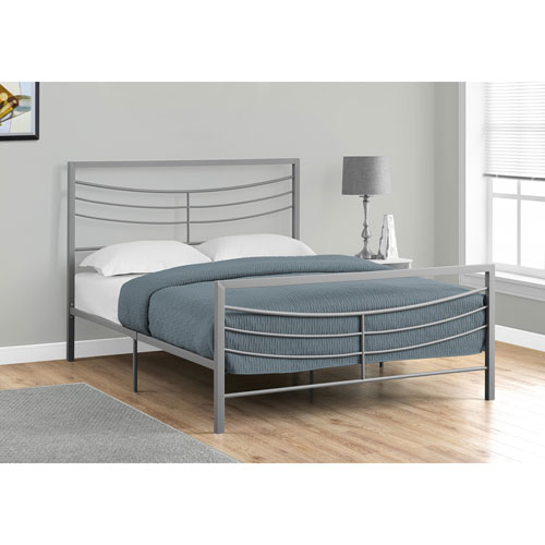 Queen Bed Silver Metal Frame Only
