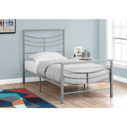 Twin Bed Silver Metal Frame Only