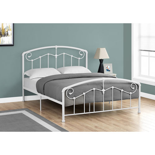 Queen Bed White Metal Frame Only