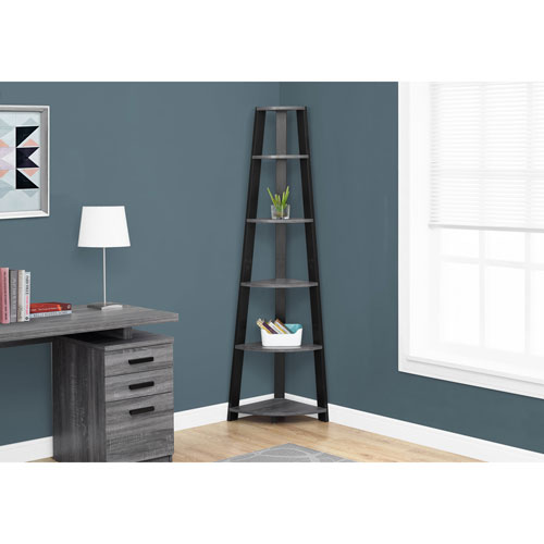 Grey-Black Corner Accent Etagere Bookcase