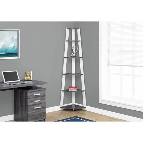 Grey-White Corner Accent Etagere Bookcase