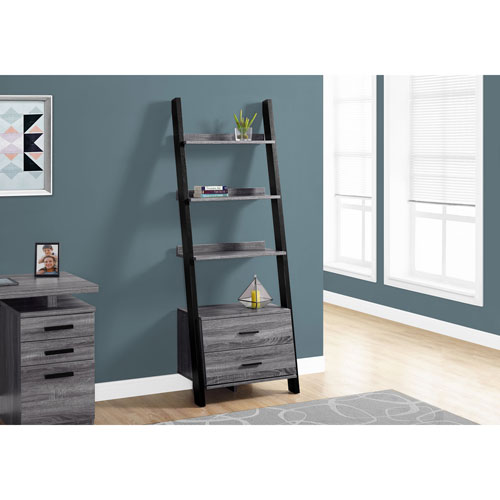Grey-Black Ladder Bookcase with 2 Storage Drawer