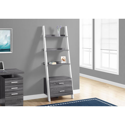 Hawthorne Ave Grey White Ladder Bookcase With 2 Storage Drawer