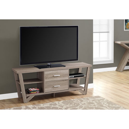 Dark Taupe TV Stand with 2 Storage Drawers