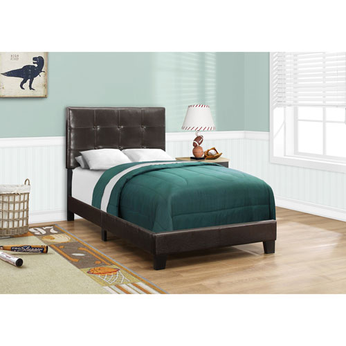 Hawthorne Ave Dark Brown Leather-Look Twin Size Bed