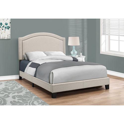 Full Bed Beige Linen with Antique Brass Trim