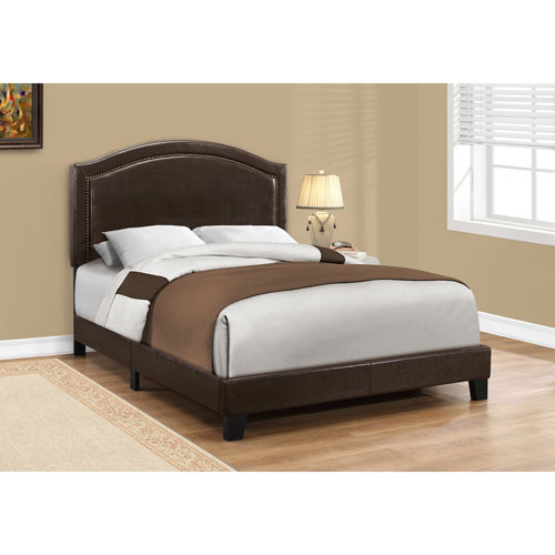 Full Bed Brown Leather-Look with Brass Trim