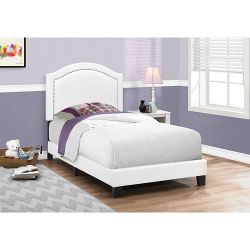 White Leather-Look with Chrome Trim Twin Size Bed
