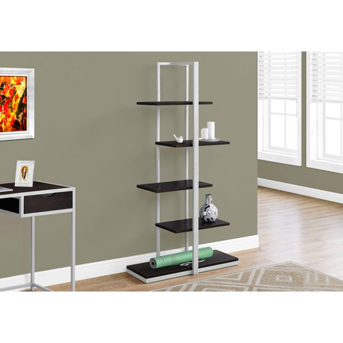 Hawthorne Ave Cappucino 60-Inch Bookcase with Silver Metal
