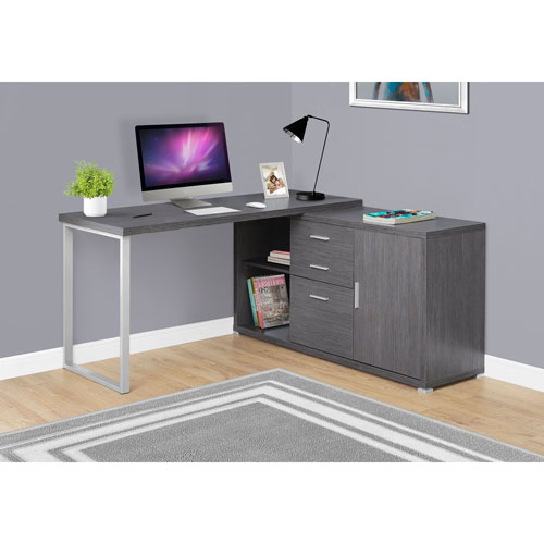 Grey Left Or Right Facing 60-Inch Computer Desk